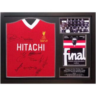 Produkt Bild Liverpool FC signiertes Europapokalsieger 1977 Trikot (gerahmt)